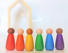 Rainbow Peg Dolls - Waldorf Wooden Peg People - Multicultural Toy- Easter Basket Stuffer for Girls