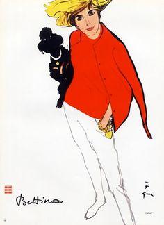 Rene Gruau illustration of Bettina Graziani, 50s/60s