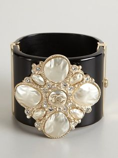#Chanel black faux pearl floral wide cuff!