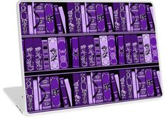Purple Book Shelves Vintage Books Pattern   Design available for PC Laptop, MacBook Air, MacBook Pro, & MacBook Retina