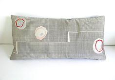 Vintage Silk Kimono Pillow Cover - Mid Century Modern - Black & White with Red Grey Silver Brocade - 12 x 24 - Free Shipping by KimonoArtStudio on Etsy https://www.etsy.com/listing/256359031/vintage-silk-kimono-pillow-cover-mid