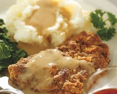Chicken Fried Steak w/ country gravy - diabetic recipe counts as 1 starch, 3 protein, and 1 fat!