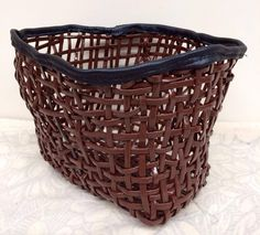 Plastic coated cane - basket weave with black leather