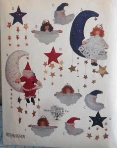 Your place to buy and sell all things handmade Santa Ornaments, Angel Ornaments, Holiday Ornaments, Hanging Stars, Moon Shapes, Craft Patterns, Xmas, Christmas, Stars And Moon
