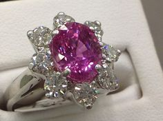 Natural Pink Sapphire & Diamonds in 18k white gold at Walter guy Jewelers