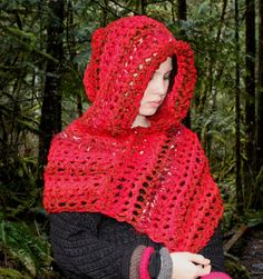 Red Ridding hood scarf poncho shawl lolli pop red by BessetteArt, $35.00