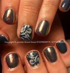 Shellac CND gel polish, konad floral stamp & mermaid glitter nails.