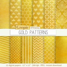 Gold digital paper GOLD PATTERNS high res gold by Grepic on Etsy  https://www.etsy.com/listing/167970041/gold-digital-paper-gold-patterns-high?ref=shop_home_active_16