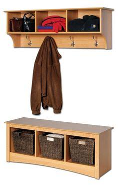 Sonoma hallway shelf and bench set in maple