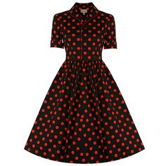 Dorothy Black Red Polka Dot Swing Dress   Vintage Dresses - Lindy Bop