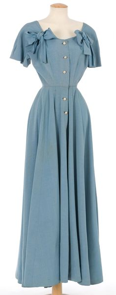 1947 Long dress made in blue silk ottoman. Manufacture Santa Eulalia.  Spain, Barcelona