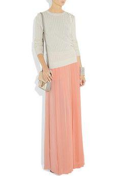 Tibi maxi dresses, long skirts, silkcrep maxi, peach maxi skirt outfits, maxi skirts