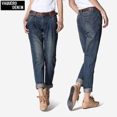 2016 Vintage Denim Mid Loose Women's Casual Jeans