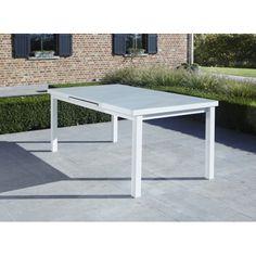 Table de jardin WhiteStar 6/8 personnes structure blanche, plateau en verre incassable blanc. Dim. fermée : 76 x 100 x 180 cm Dim. ouverte : 76 x 100 x 240 cm