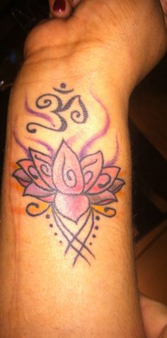 Om plus lotus tattoo