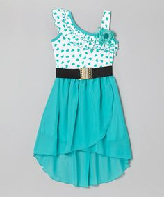 Teal Polka Dot Asymmetrical Dress - Toddler & Girls #zulily #zulilyfinds
