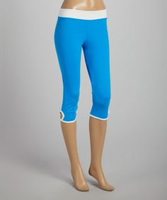 Look what I found on #zulily! Caribbean Blue & White Capri Leggings by Sofibella #zulilyfinds
