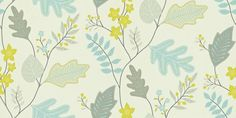 Lacarno (110299) - Harlequin Wallpapers - A contemporary stylized leaf trail design. Showing in shades of blue, green and grey on a off white background - other colour ways available. wallpaperdirect.com