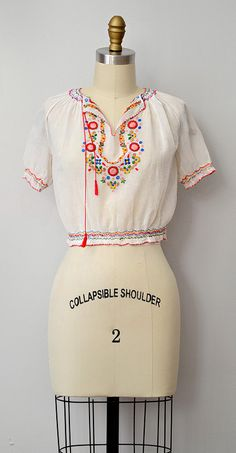 coming soon to the shop... vintage 1930s Hungarian peasant blouse http://www.adoredvintage.com