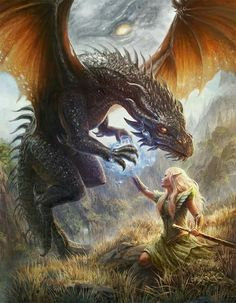 Dragon and elf - art fantasy Magical Creatures, Fantasy Creatures, Dragon Dreaming, Elf Art, Kobold, Dragon's Lair, Dragon Rider, Fantastic Art, Awesome