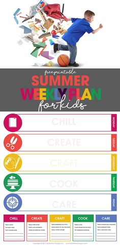 summer weekly plan | weekly schedule for kids | free printable | organize your life via @moritzdesigns