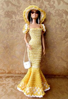 Knitted clothing for dolls / Descriptions / sale Barbie Patterns, Doll Clothes Patterns, Dress Patterns, Crochet Doll Dress, Crochet Barbie Clothes, Barbie Gowns, Barbie Dress, Barbie Doll, Moda Barbie