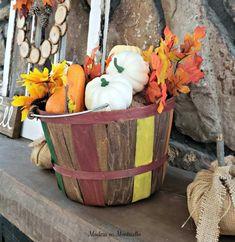 Bushel Basket of Fall Colors Galore Painted Baskets, Harvest Basket, Old Baskets, Porch Decorating, Decorating Ideas, Decor Ideas, Craft Ideas, Boho Diy, Garden Crafts