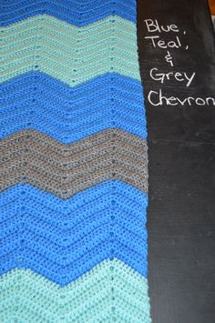 Blue, Teal, and Grey Chevron Afghan by KristaVoy on Etsy https://www.etsy.com/listing/220733395/blue-teal-and-grey-chevron-afghan