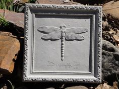 Concrete Framed Dragonfly Garden Art Plaque
