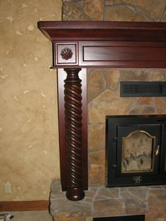 Cherry Fireplace Mantel with Hand Carved Details