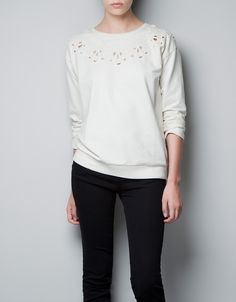 EMBROIDERED SWEATER - T-shirts - TRF - ZARA United States