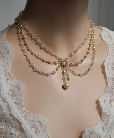 Vintage Bridal Necklace Swarovski Crystals and by mylittlebride