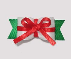 """#0999 - 5/8"""" Dog Bow - """"Little Gift"""" Red Bow"""