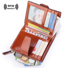 Rfid Blocking Genuine Leather Credit Card Holder Wallet  Zipper Coin Purse 2017 New Fashion Women id Card Protector Safe Wallet #Affiliate