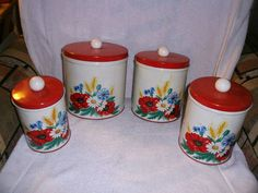 Vtg Beautiful Tin Metal Red White W/Flowers Kitchen Canister Set Of 4 Cannisters