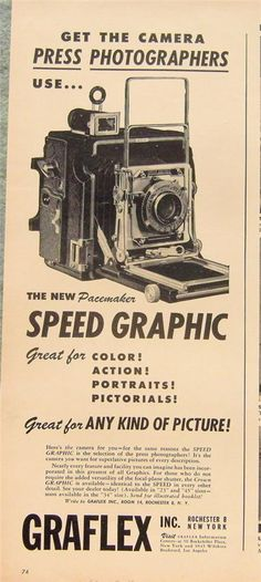 1947 Graflex Pacemaker Speed Graphic Press Camera Ad -- OMG! Pictorials!