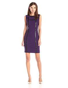 Lark & Ro Women's Sleeveless Faux-Leather Trim Structured Sheath Dress