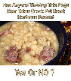 Crock Pot Great Northern Beans - Susan Recipes Bean Recipes, Pork Recipes, Crockpot Recipes, Cooking Recipes, Recipies, Cooking With Ham Hocks, Beans In Crockpot, Susan Recipe, Great Northern Beans