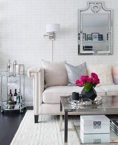 Studio apartments can be design doomzday for a regular peon but. Home Design Living Room, Home And Living, Living Room Decor, Living Rooms, Harlequin Wallpaper, Diamond Wallpaper, Pattern Wallpaper, Be Design, Master Room