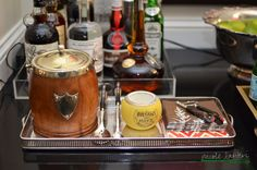 A great bar set up for entertaining in your home!  by Nicole Lanteri #stockthebar #onmyagenda