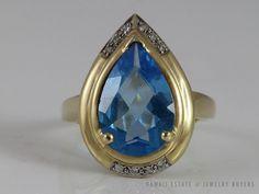 LARGE FINE 14K YELLOW GOLD PEAR SHAPED BLUE TOPAZ & DIAMOND RING (SZ 8.5)