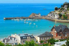 my cousin's home is the brick building on the right. Such a fun summer! Places Around The World, Around The Worlds, Destinations, Ocean Beach, Brittany, Beautiful Places, Scenery, Images, Places To Visit