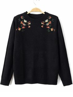 Black Round Neck Embroidered Loose Sweater 21.33