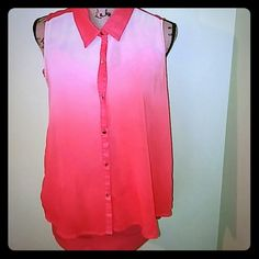 Hola Ombre  Lovely ombre button down top. Preloved condition ( couple scratches on buttons). Including orange cami to layer under top, cami size large. Measurements of top: top to bottom hem almost 21 inches, armpit to armpit laying flat is 19 inches. Non smoking home. Tops