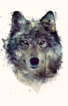 Jessica Ilyjessicaomg: Wolf ART--thinking this technique would be cool...watercolors