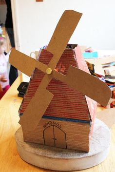 Cardboard Windmill, I'm going to make a children size version to decorate the stage for the musical this year.
