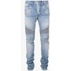 Balmain Regular-fit denim biker jeans ($1,100) ❤ liked on Polyvore featuring men's fashion, men's clothing, men's jeans, men, axel pierce, men wear, mens faded jeans, mens distressed denim jeans, mens slim jeans and mens regular fit jeans
