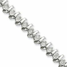 Diamond S Link Tennis Bracelet in Sterling Silver