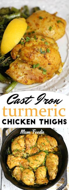 Cast Iron Chicken Thighs … sounds like poultry that has been working out…. but seriously this Baked Turmeric Chicken Thighs Recipe is easy to make and healthy too! I had it with a simple side of sauteed broccoli rabe, for a great keto meal. #LowCarb  #keto  #skilletchicken  #turmeric