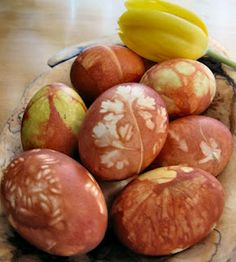 Latvian Easter egg coloring is done entirely naturally using onion skins, rice, barley, pasta, and plant material (like grass and bush clippings).